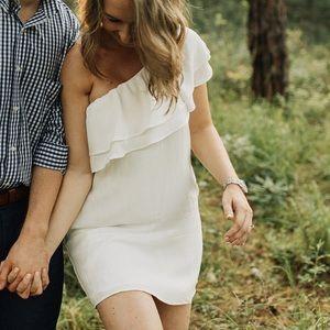 One Shoulder Ruffled White Linen Mini Dress